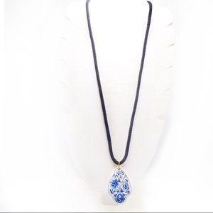 Asian Inspired Floral Porcelain Pendant Necklace